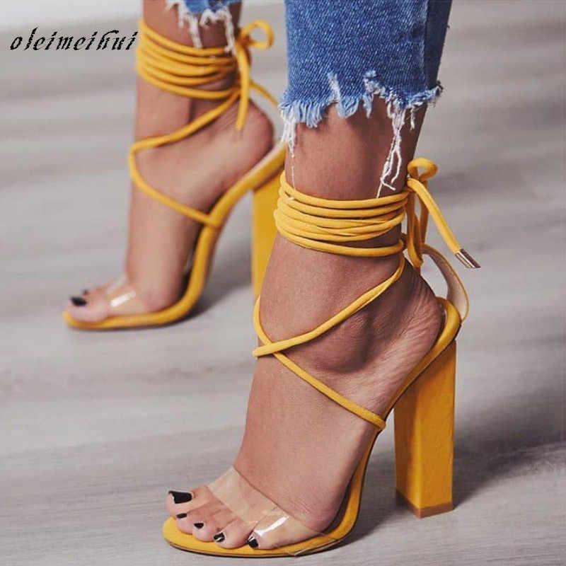אישה נעלי עקבים גבוהים טו האופנה נשים להרחיב ברור שקוף תחרה רצועת קרסול נעלי מסיבת קיץ גודל גדול 34-43