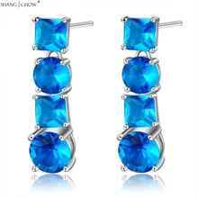 2017 Зимние Новая Мода Люкс На бал в блестящие Ювелирные Изделия Blue Crystal камень 925 Стерлингового Серебра Мотаться Серьги E0427