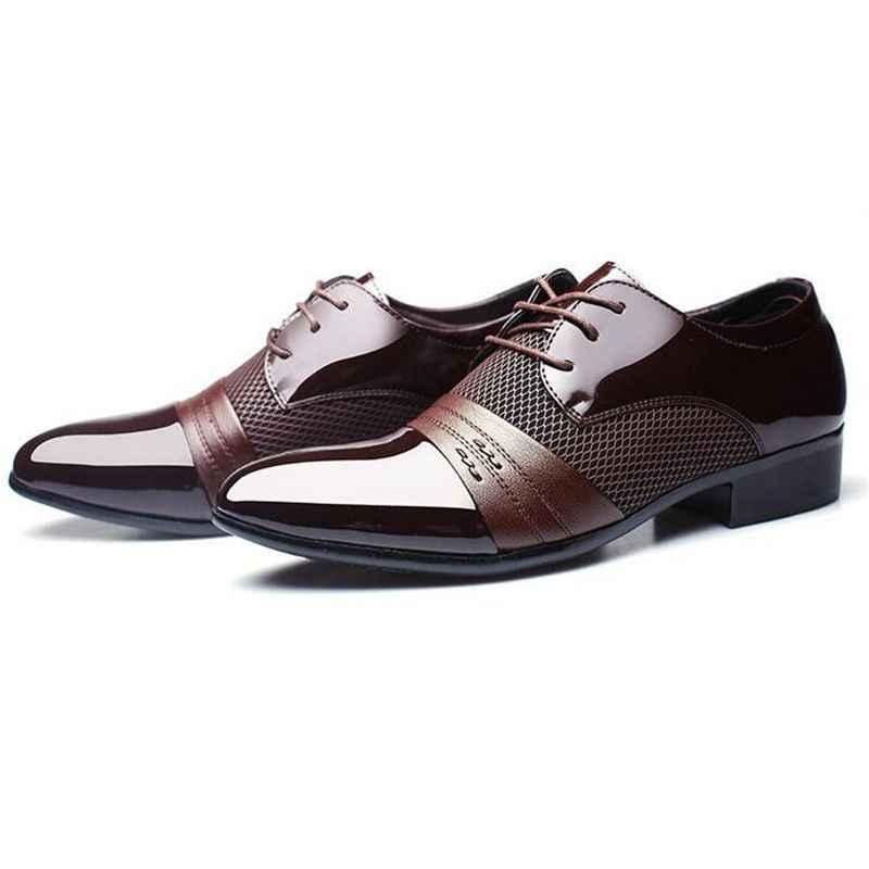 Classical Men Dress Flat Shoes Luxury Men's Business Oxfords Casual Wedding Shoe Black Brown Leather Derby Shoes