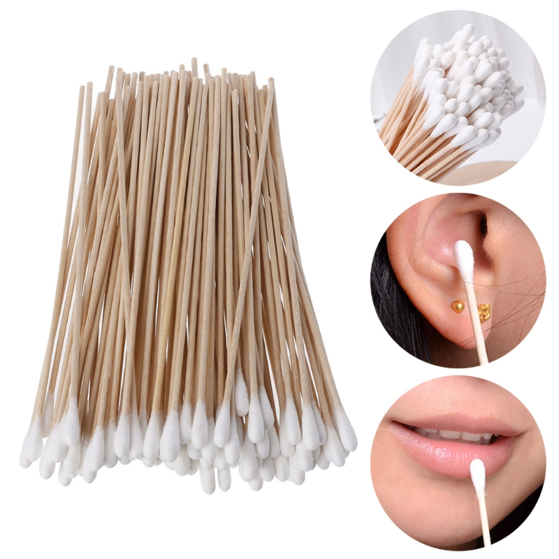 100Pcs/Set Cotton Swabs Makeup Tools Wood Stick Women Makeup Cotton Buds Tip Handle Applicator Q-tip For Wound Care Crafts 15CM
