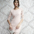 Dear Lover Vestidos Curto De Renda Festa Winter Plus Xl Light Peach Allover Lace Three Fourth Sleeves Prom Party Dress Lc2797