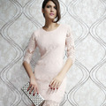 Dear lover vestidos de renda curto festa winter plus xl light peach allover lace three cuarto mangas prom party dress Lc2797