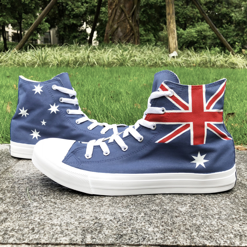 Wen Design Custom Hand Painted Athletic Shoes Australia Flag High Top Strappy Blue Sneakers Man Womans Canvas Outdoor Shoes Wen Design Custom Hand Painted Athletic Shoes Australia Flag High Top Strappy Blue Sneakers Man Womans Canvas Outdoor Shoes