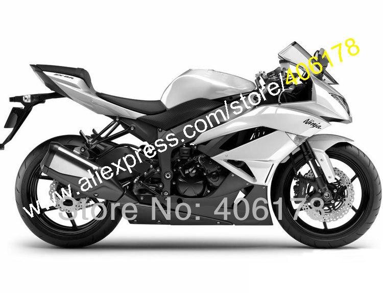 Hot Sales,Buy Cheap For KAWASAKI ZX 6R 09 10 11 12 NINJA ZX6R ZX 6R 636 ZX636 White black 2009 2012 Fairing (Injection molding)