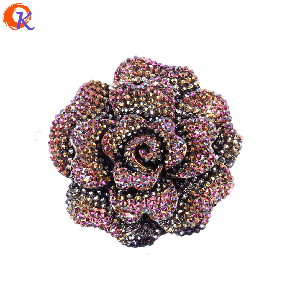 Fashion 40Pcs/Lot 44MM Choose Color Resin Rhinestone Flower Chunky Resin Flower For Handmade DIY Jewelry Accessories CD-BRF-44MM