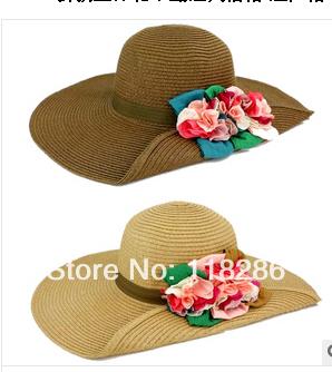 Envío gratis PLEGABLE, PORTÁTIL y de MODA señora sombrero de Playa Sombreros de sun visor de Ala Ancha de paja Del Verano con Bowknot de La Cinta