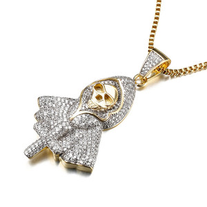 Image 3 - Hiphop Rock Skeleton Necklace Punk Ghost Party Jewelry Jesus Cross Specter Pendant CZ Crystal Necklaces Party Iced Out