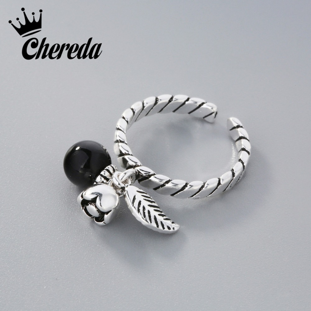 Chereda Silver Antique Flower Bead Twist Ring For Women Vintage Jewelry Retro Carter Cock anillos