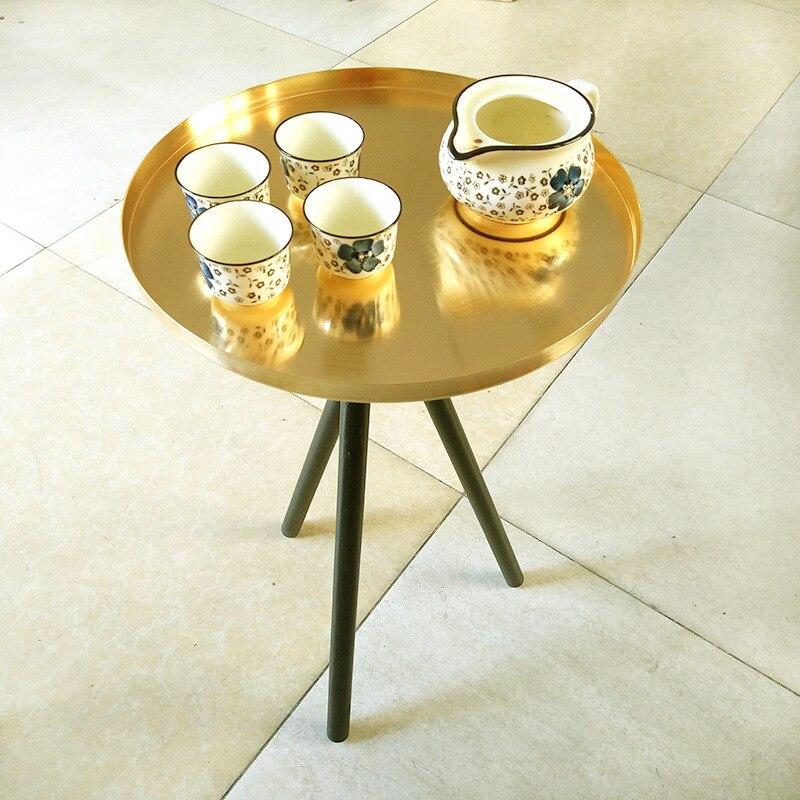 Goud ronde mini tafel bruiloft dessert grote taart bloemen centerpieces display tafel home hotel koffie thee tafel Bank Bijzettafel - 4