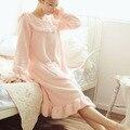 Volantes lindo manga larga camisa camisones homewear noche suave vestido
