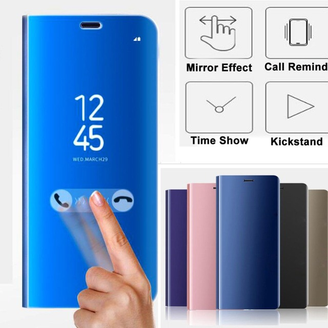 US $308 75 5% OFF|Aliexpress com : Buy DHL 100PCS Flip Smart Case for  Samsung Galaxy J6 S9 S9 Plus 2018 Clear View Mirror Stand Cover for samsung  j6