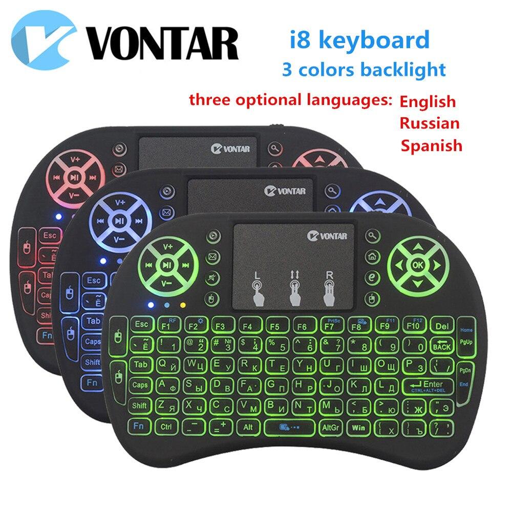 VONTAR i8 Hintergrundbeleuchtung Englisch Russisch Spanisch Air Maus 2,4 ghz Wireless Tastatur Touchpad Handheld für Android TV BOX X96 Max t9