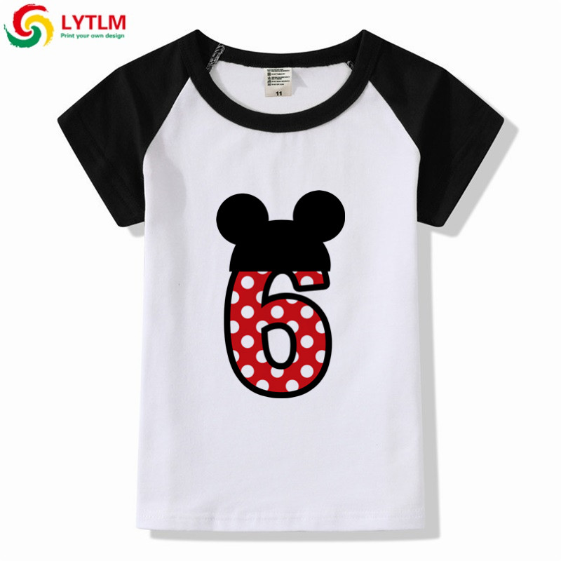 LYTLM 6th Birthday Boys And Girls Happy Cartoon Print T Shirt Enfant Summer White