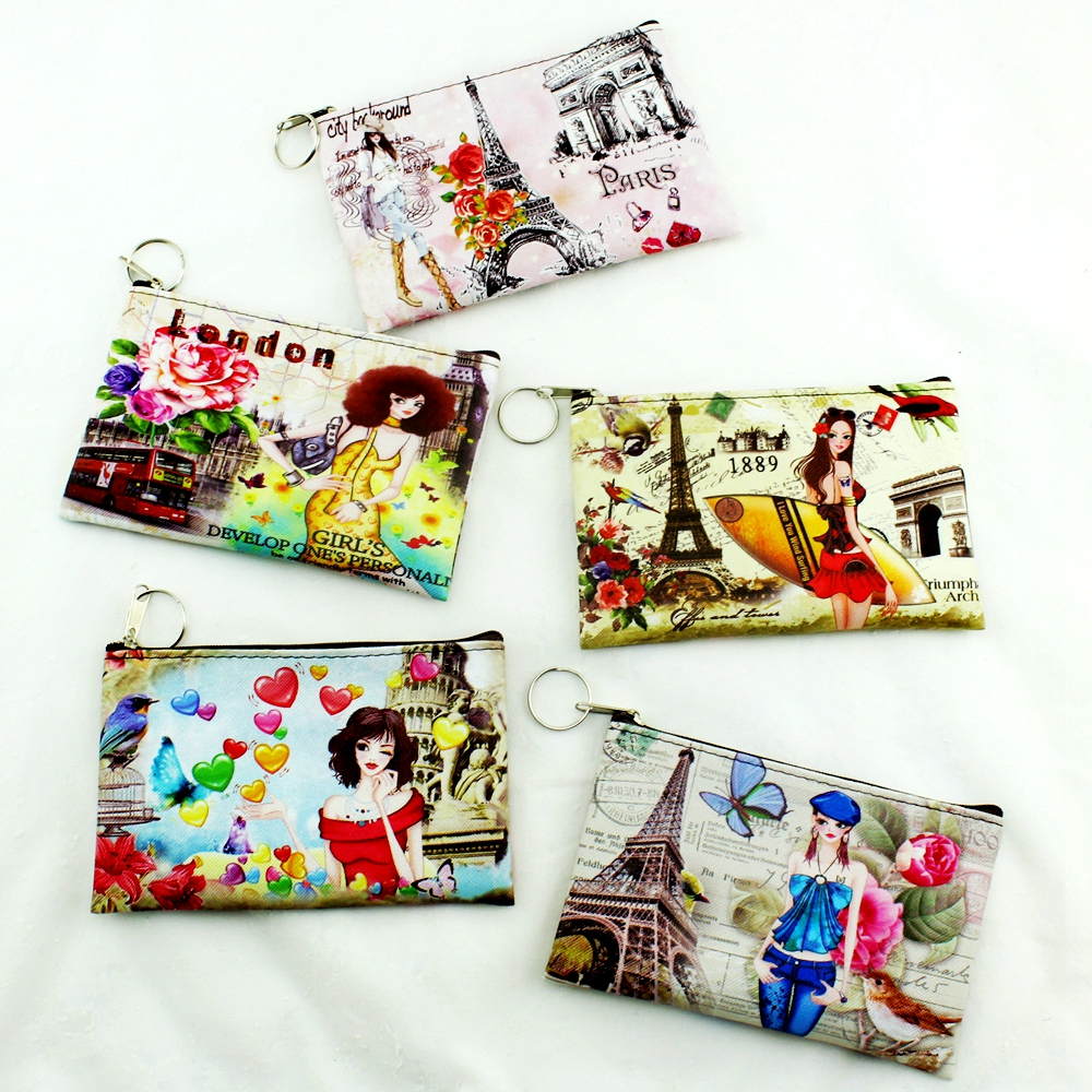Hot Sell!Eiffel Tower/Big Ben/girl printing coin purse,women zero wallet,female clutch change purse,Zipper money/key/phone bags