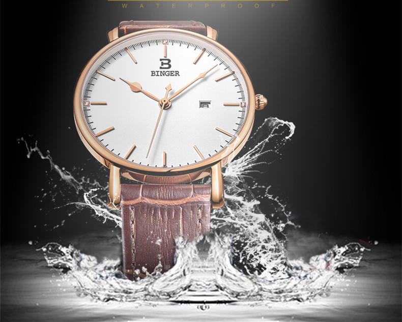 Pulso À Prova D' Água Mulheres Relógio de Quartzo de Couro Real