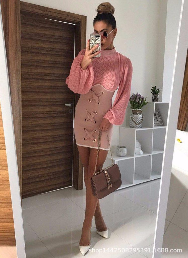 Top qualité rose Nude caractère à manches longues col haut robe élégante robe de soirée