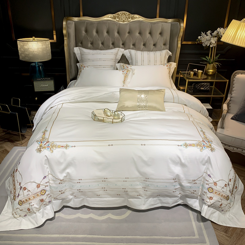 Luxury Egypian Cotton Premium Embroidery Vintage Bedding Set Purple White Duvet Cover Fitted Bed Sheet Queen King Size 4/6Pieces