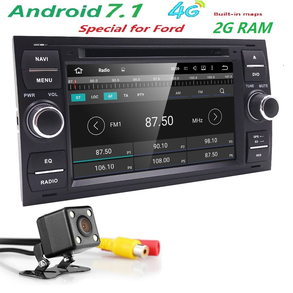 4G QuadCore Android 7.1 car audio gps FOR FORD FOCUS C-MAX car dvd player car multimedia car stereo head unit 1024*600 2G RAM CD joyous 7 touch screen android 4 2 dual core car dvd player w gps bt for ford focus focus 2