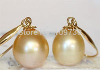 PAIR OF PERFECT NATURAL SOUTH SEA GENUINE 12X10MM DROP PEARL EARRING AAA