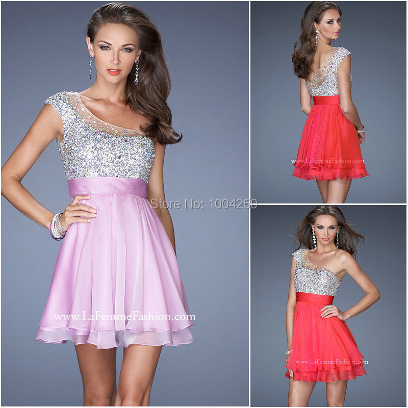 AC006 New Arrival 2016 Sexy Sheer Single One Shoulder Cap Sleeve Sequned Short Prom   Dress   Custom Made   Cocktail     Dresses