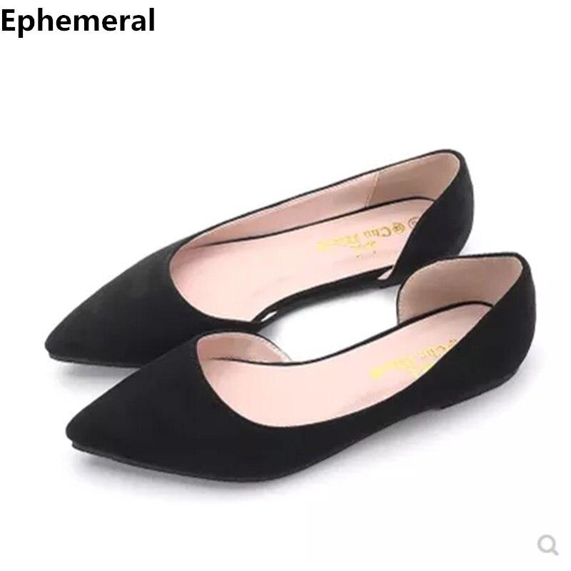 48 Flats Heel-Loafers Mocassim Pointed-Toe Feminino Breathable Plus-Size Ladies Summer