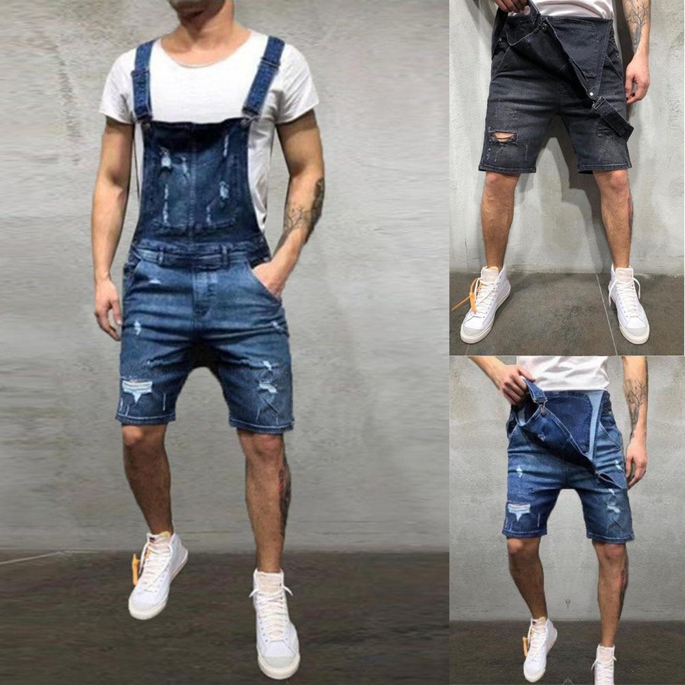 2020 Oversize Fashion Men's Ripped Jeans Jumpsuits Shorts Summer Hi Street Distressed Denim Bib Overalls For Man Suspender Pants 5