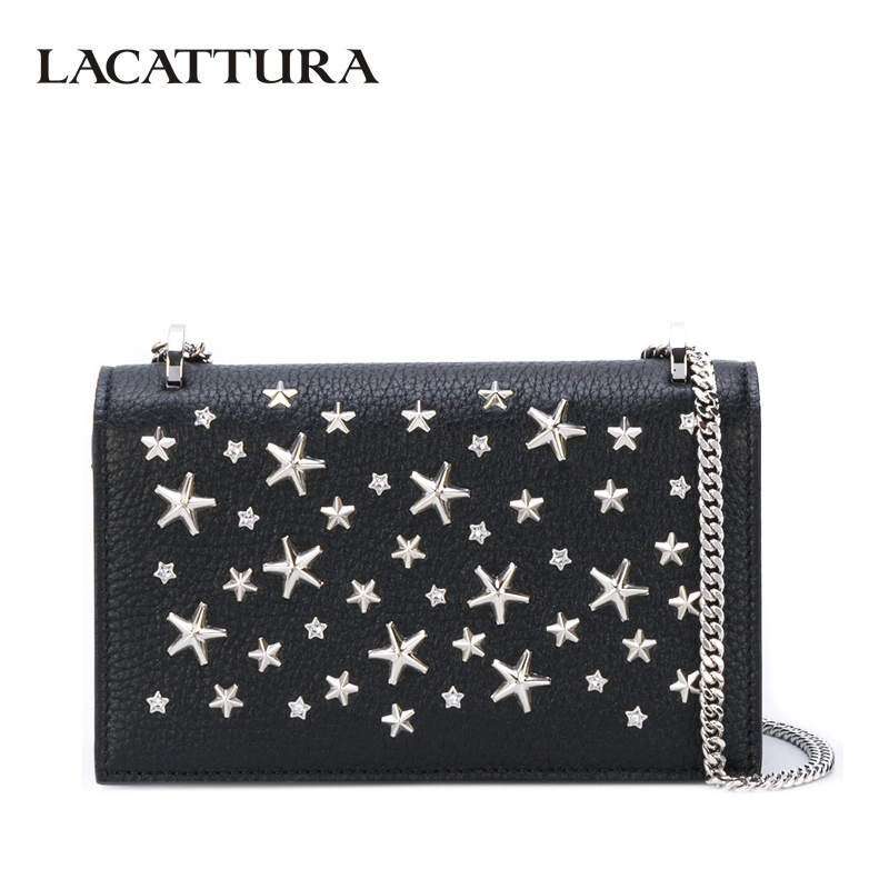 LACATTURA Star Rivets Clutch Women Designer Leather Handbag Chain Shoulder Summer Bag Fashion Messenger Bags Small Cross body lacattura small bag women messenger bags split leather handbag lady tassels chain shoulder bag crossbody for girls summer colors