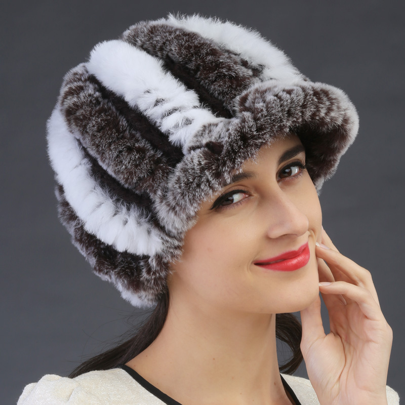 ФОТО Hot Sale Women Beanie Winter Handmade Stripes Rex Rabbit Fur Hat Fur Hats Warm Soft cute high good quality knitted beanies