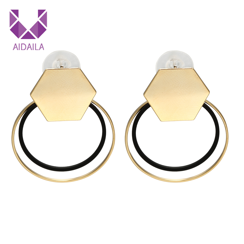 Women Dangle Drop Earrings for Ladies with Round Circle Metal Trendy Fashion Style Geometric