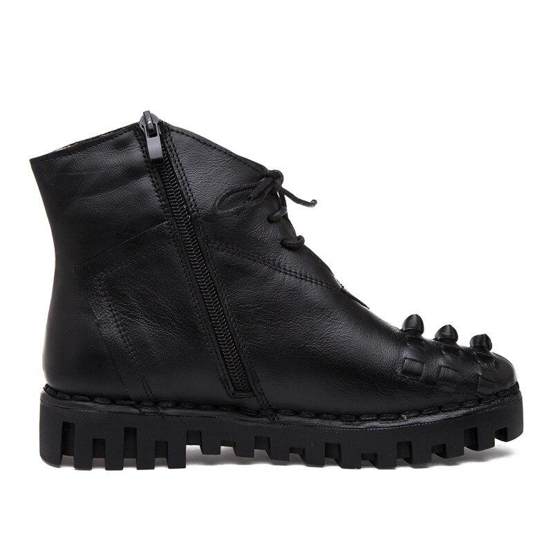 Auténtico Moda Hovinge Negro Fur Invierno Otoño Plataforma Nueva Cuero With Femenina Zapatos Botas Mujeres Botines Mujer black Encaje Ocasionales Vintage wrISHr0q