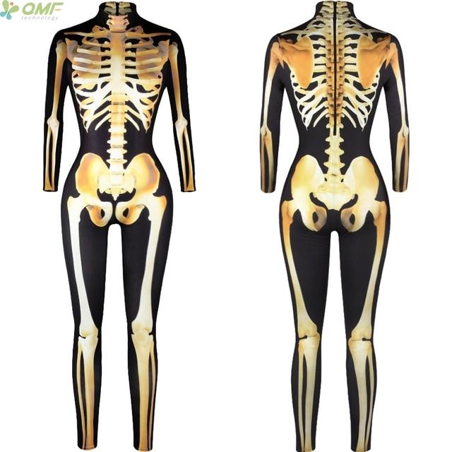Golden Skeleton Cosplay Jumpsuits Turtleneck Tight Rompers Rib Leg