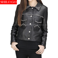 SHILO GO Autumn Fashion Street Women Short Genuine Leather Jacket Suit Lapel Star Rivet New Ladies
