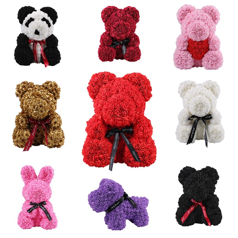 2019 Soap Foam Rose Bear Dolls Rose Teddy Rabbit Panda Love Flower Artificial Valentines Gift Wedding New Year Gifts for Women