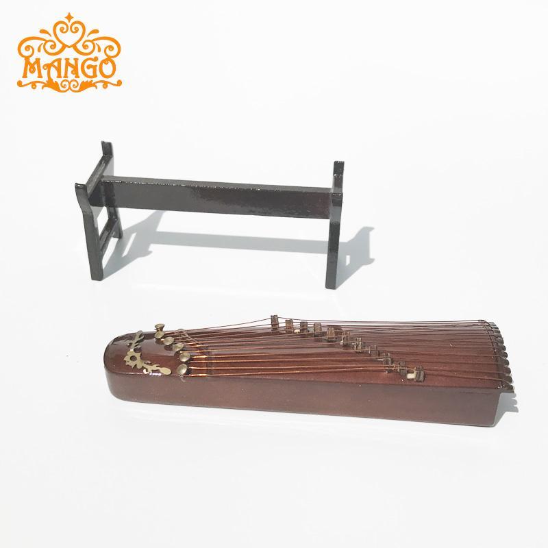 Free Shipping 1/12 Dollhouse Miniature Music Instrument Guzheng harp children baby gift  Wooden classic toys
