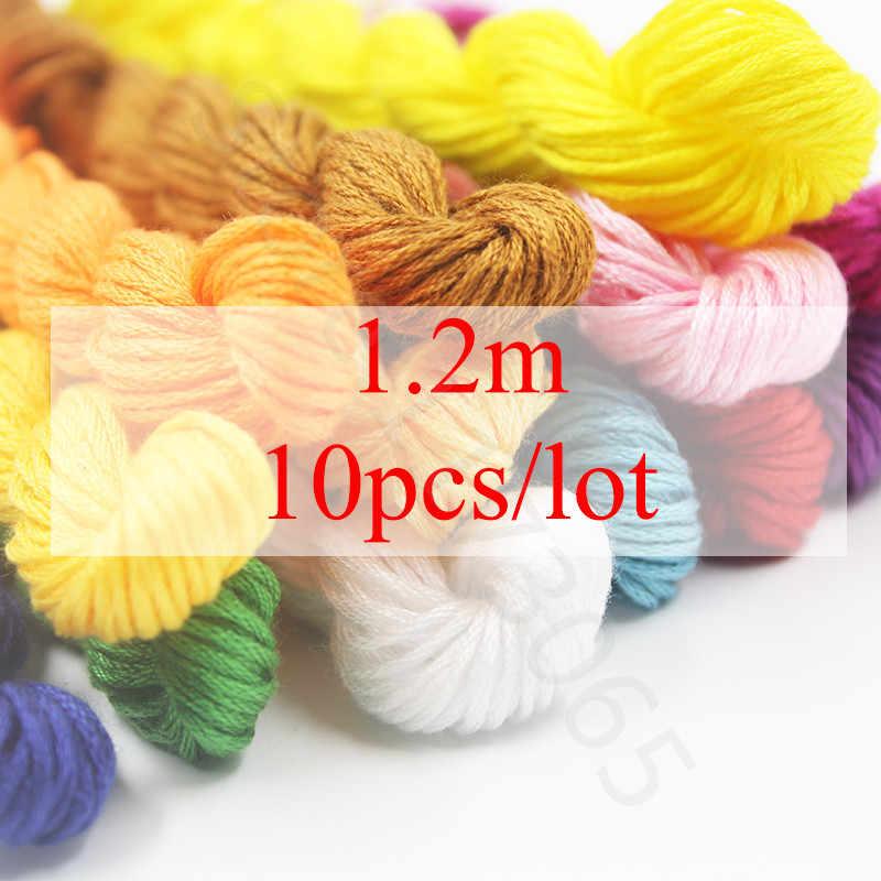 Golden Panno, Multicolor DMC3790-3823 10 ชิ้น/ล็อต 1.2 เมตรความยาวด้าย Cross Stitch เย็บผ้าฝ้าย Skeins เย็บปักถักร้อยไหมขัดฟันชุด