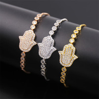 Dower Me Beautiful Shiny Stainless Steel Hand Shape Solid Color White Zircon Charm Bracelet 3 Colors