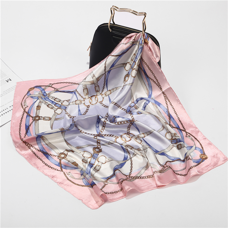 New Summer Luxury Brand Silk Square   Scarf   Women Plaid   Wraps   Retro Print Office Small Hair Neck hijabs foulard 60*60cm
