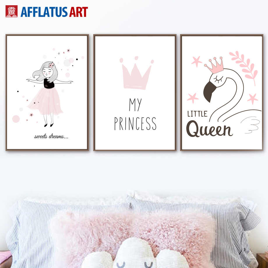 Pink Little Girl Crown Swan Wall Art Canvas Painting Nordic Posters And  Prints Cartoon Wall Pictures Kids Room Girl Room Decor