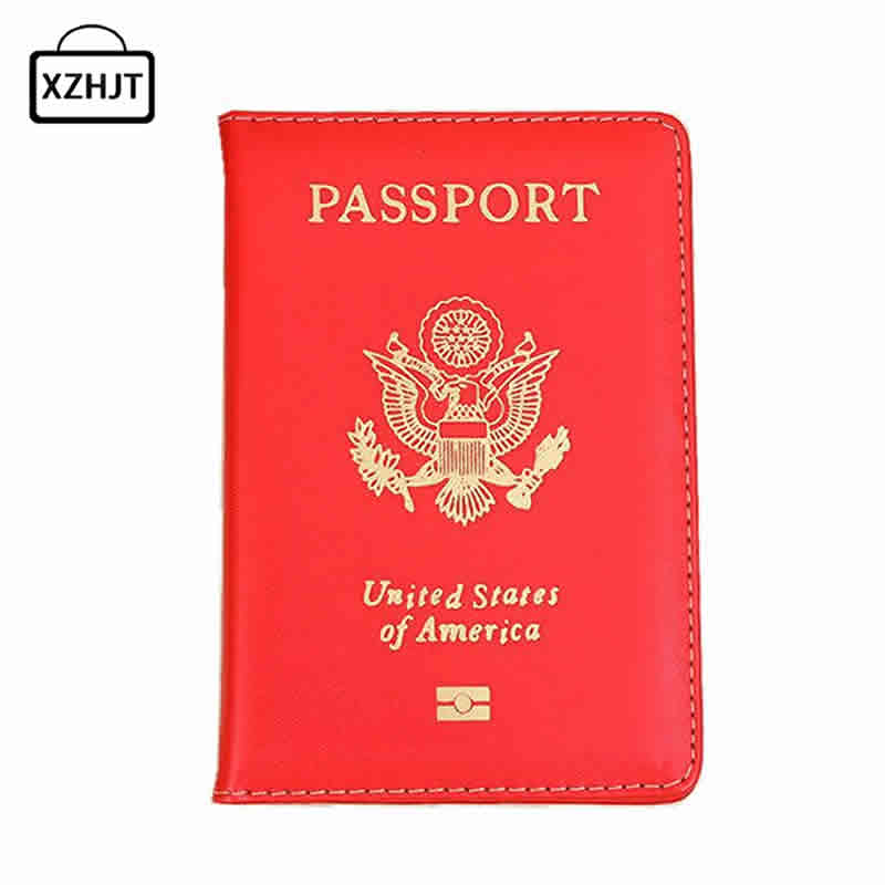 Casual Travel USA Passport Cover Women Men Rfid Pass Port Credit Card Holder Case PU Leather Business Cardholder American Wallet floveme retro business pu leather wallet case cover handbag