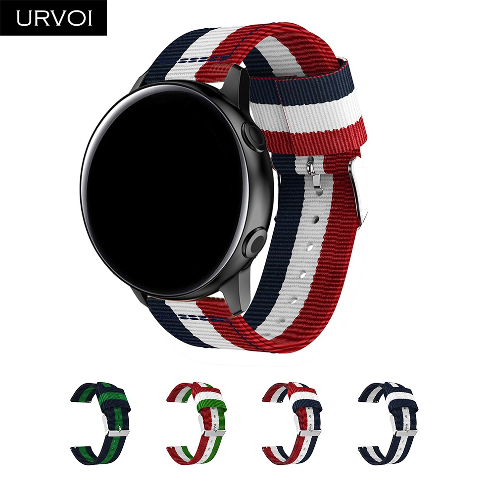 URVOI Woven Nylon Band For Galaxy Watch Active Strap Stainless Steel Buckle Replacement Durable Wrist Colors 42 46mm Gear S3