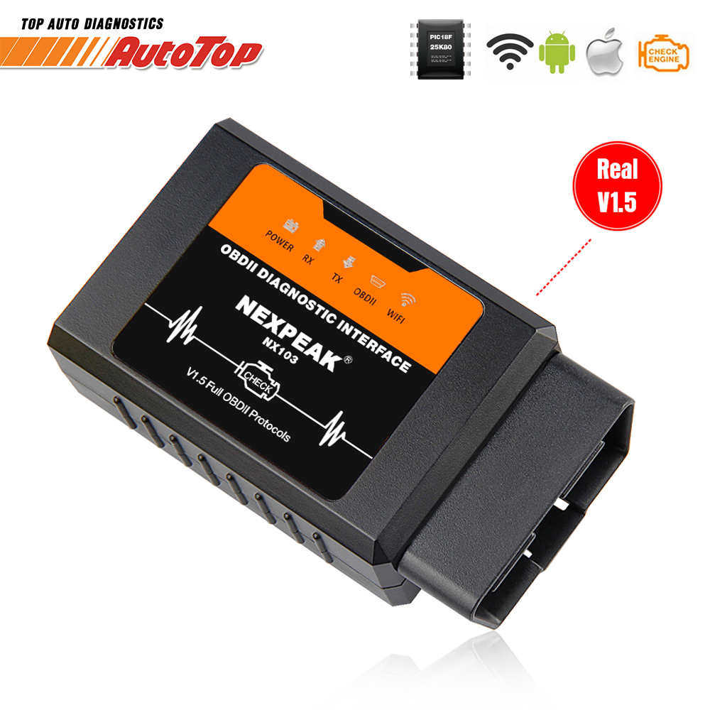 ELM327 V1.5 WIFI OBD2 Adapter PIC18F25K80 OBD 2 Scanner Auto Auto Diagnose-tool Scanner OBD EML327 für iPhone IOS WI-FI ULME 327