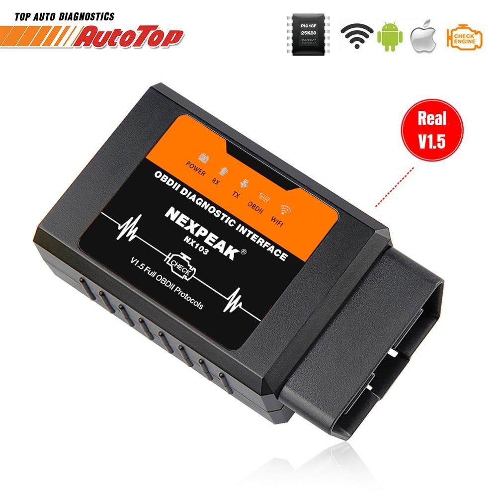 ELM327 V1.5 WIFI OBD2 Adapter PIC18F25K80 OBD 2 Scanner Car Auto Diagnostic-tool Scanner OBD EML327 For IPhone IOS WI-FI ELM 327