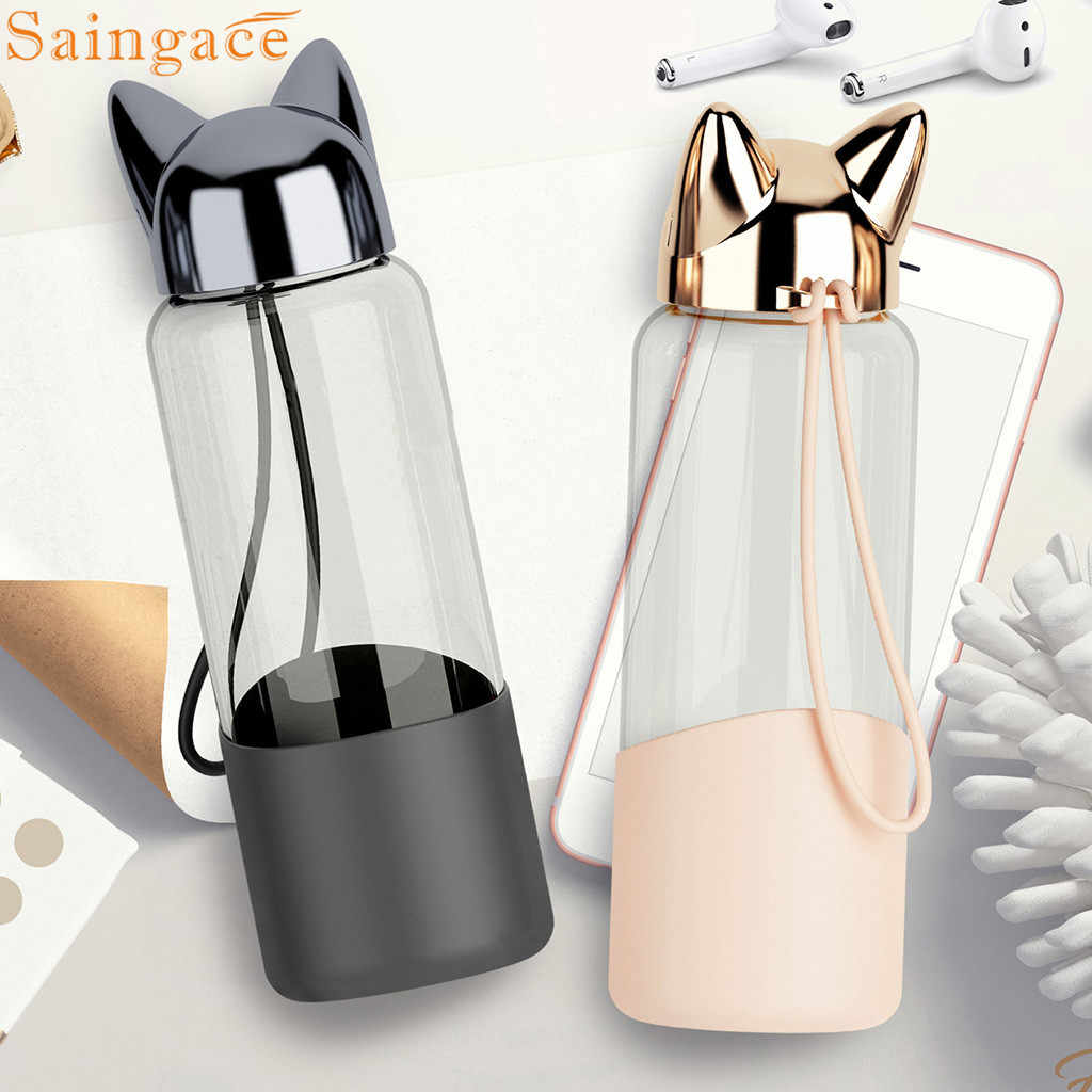 Saintgace Travel Water Bottle Creative Cute Fox Glass Water Bottles Sport Portable Leakproof Drinking cups dropshipping 2019 new