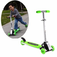 3colors Adjustable Three Wheels Foot Scooter For Kids Children Adult Alloy Foldable Skateboards Roller Kick Scooter
