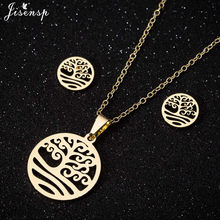 Jisensp Fashion Tree of Life Stainless Steel Necklace for Women Gold Statement Necklace Chain Men Jewellery bisuteria mujer(China)