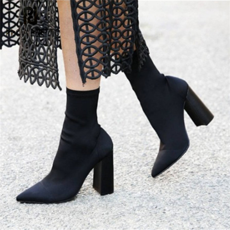Prova Perfetto New Elastic Ankle Boots for Women Pointed Toe Chunky High Heel Boot Stretch Fabric Female Short Sock Boots jady rose fashion stretch fabric ankle boots for women chunky high heel sock boot elastic pointed toe female back zip high boots
