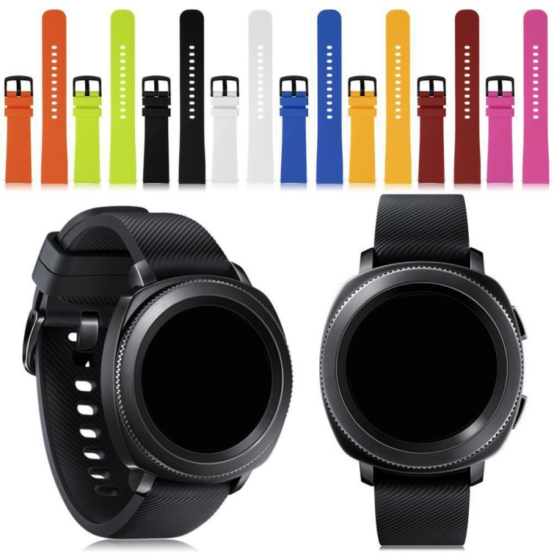 Width <font><b>20mm</b></font> <font><b>Silicone</b></font> Watchband for Samsung Galaxy Watch Garmin Amazfit Replacement <font><b>Bracelet</b></font> Watch <font><b>Band</b></font> Strap for Gear Sport image