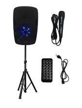 STARAUDIO 15″ 2500W Professional Powered/Energetic DJ Stage Bluetooth Speaker W/ 1 Speaker Stand 1 Wired Microphone SPW-15RGB