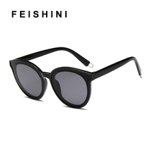 Feishini Future Fashion Transparent Colour korea Glasses Clear Oval Oculos ladies Plastic Cheap Oversized Sunglasses Women UV400