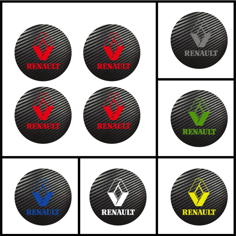 4pcs 56mm 60mm 65mm For RENAULT Sport Badge Logo Carbon Center Caps Alloy Rim Wheel Hub Stickers